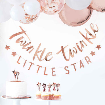 Twinkle Twinkle Bunting Rose Gold - Party Savers