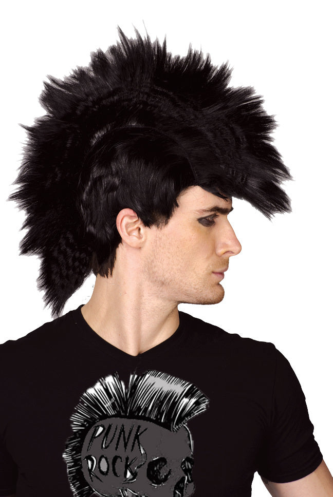 Black Punk Rocker Mohawk Wig