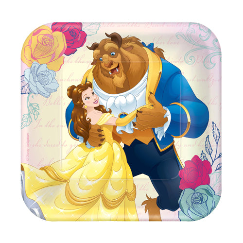 Beauty & The Beast Square Plates 17cm 8pk - Party Savers