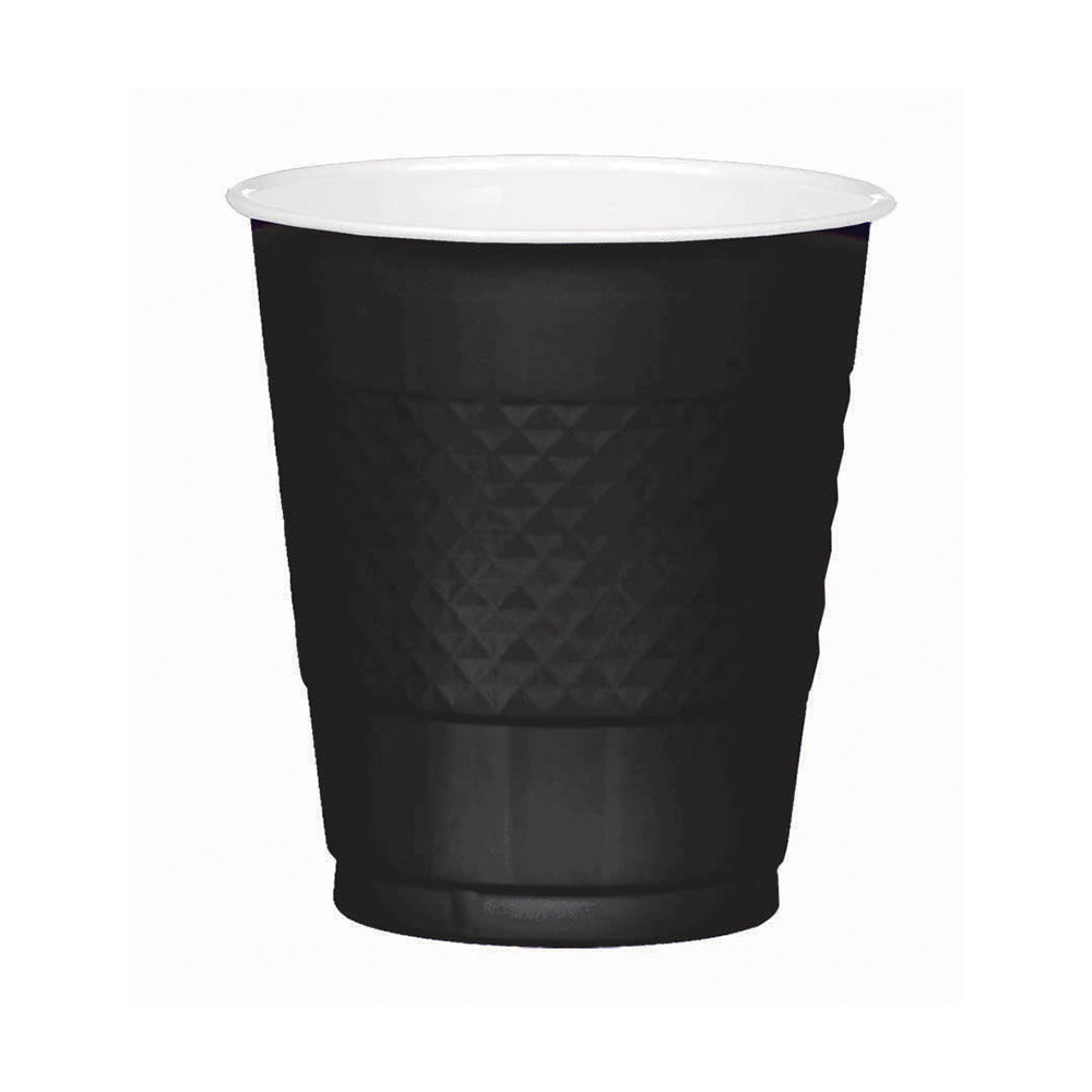 Black Plastic Cups 355ml 20pk