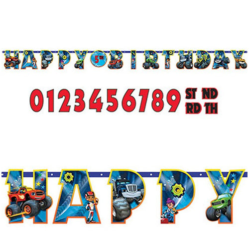 Blaze & The Monster Machines Jumbo Add-An-Age Banner 3.2m x 25cm - Party Savers