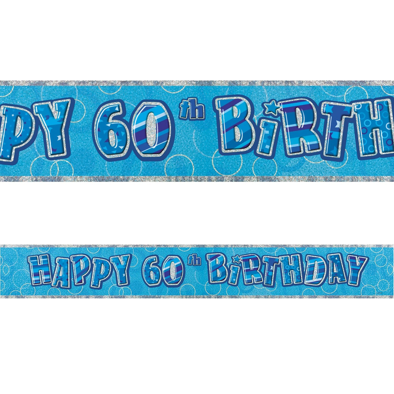 Blue Glitz 60th Birthday Foil Banner 3.6m