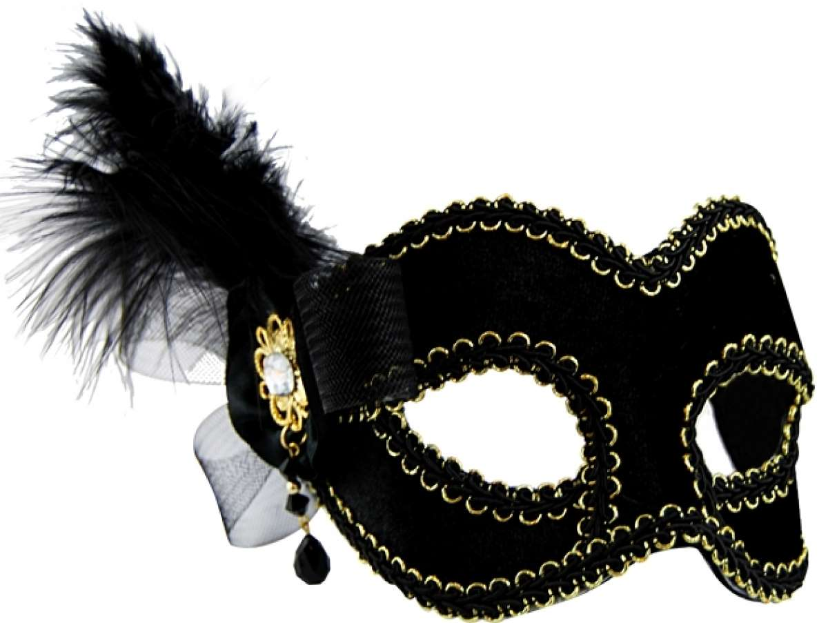 Black Masquerade Mask with Side Feather