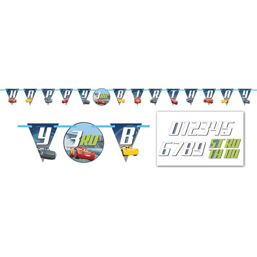Cars 3 Add An Age Banner Happy Birthday - Party Savers