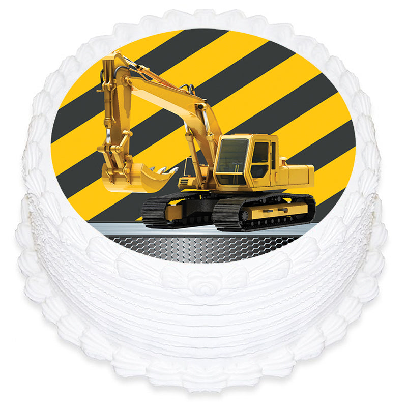 Construction Round Edible Icing Image 19cm