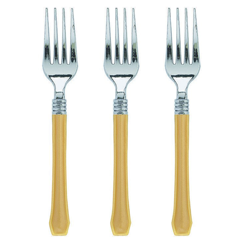Gold Premium Plastic Fork 20pk - Party Savers