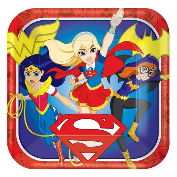 DC Super Hero Girls Square Plate 23cm 8pk