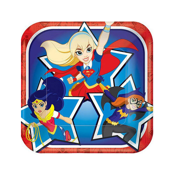 DC Super Hero Girls Square Lunch Plate 17cm 8pk