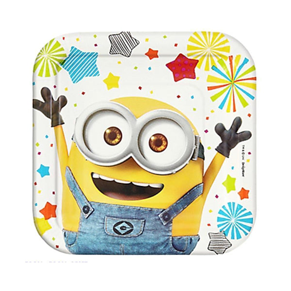 Despicable Me Square Plates 17cm 8pk - Party Savers
