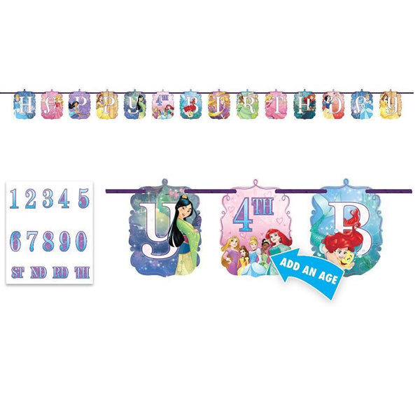 Disney Princess Dream Big Jumbo Add-An-Age Banner 3.2m x 25cm - Party Savers