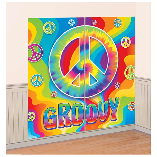 Feeling Groovy Plastic Scene Setter Wall Decorating Kit 5ft - Party Savers
