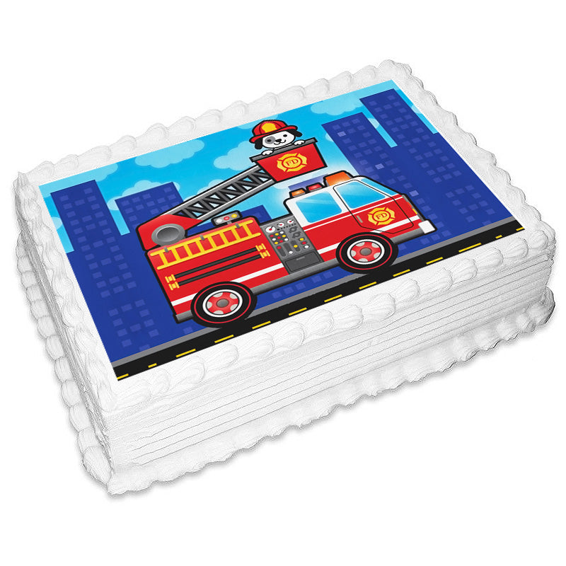 Firetruck Rectangle Edible Icing Image 25cm x 19cm