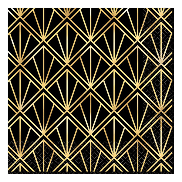 Glitz & Glam Hot Stamp Lunch Napkins 33cm 16pk - Party Savers