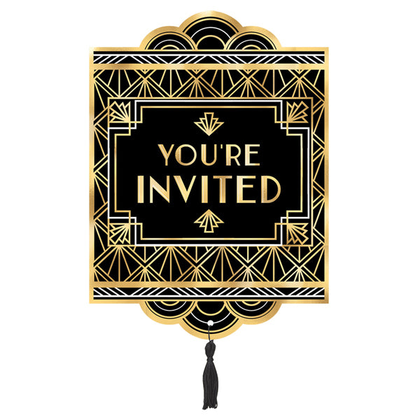 Glitz & Glam Jumbo Deluxe Invites 8pk - Party Savers