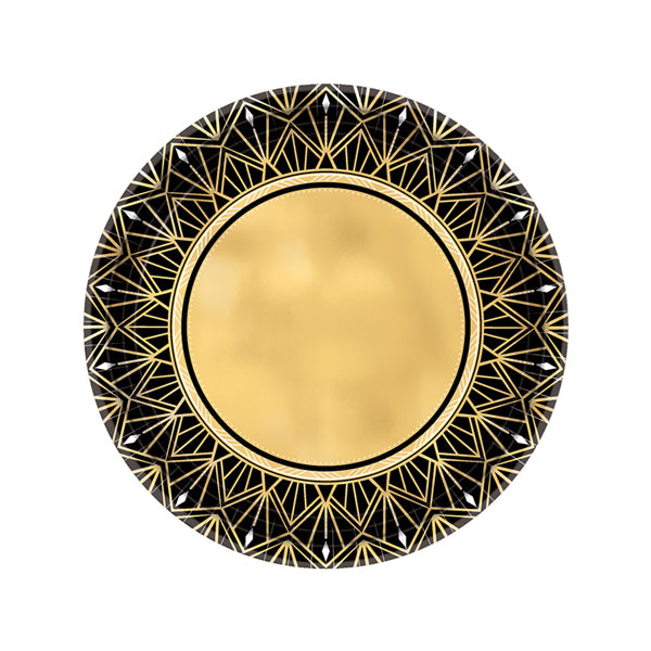 Glitz & Glam Metallic Round Paper Plates 17cm 8pk - Party Savers