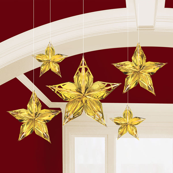 Glitz & Glam Metallic Star Decoration 20cm 5pk - Party Savers
