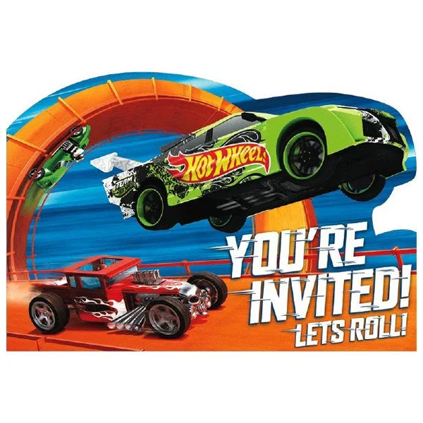 Hot Wheels Wild Racer Postcard Invitations 8pk - Party Savers