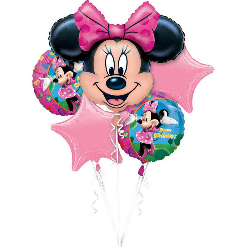 Minnie Mouse Birthday Foil Balloon Bouquet 5pk - Party Savers