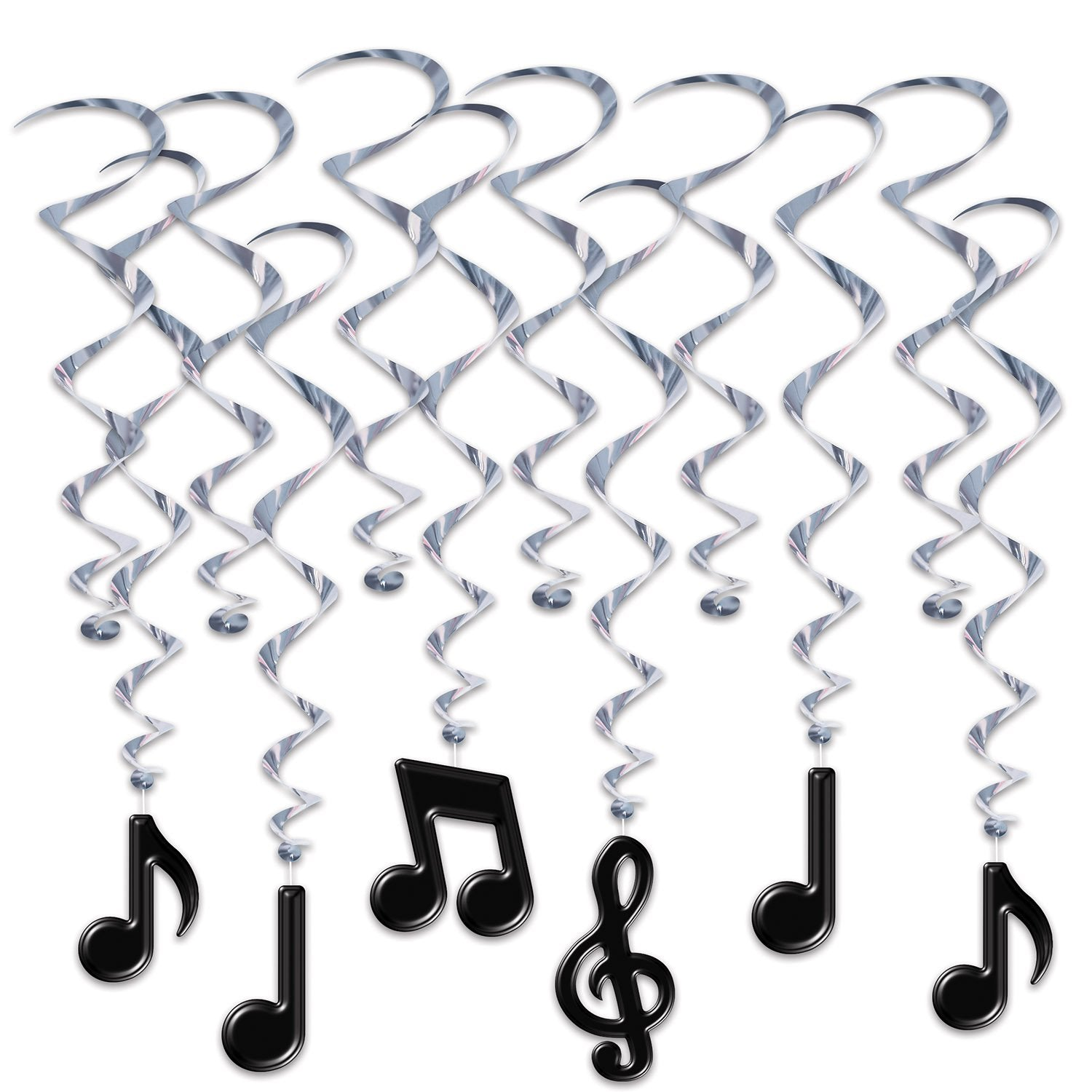 Musical Notes Whirls 44cm-83cm 12pk - Party Savers