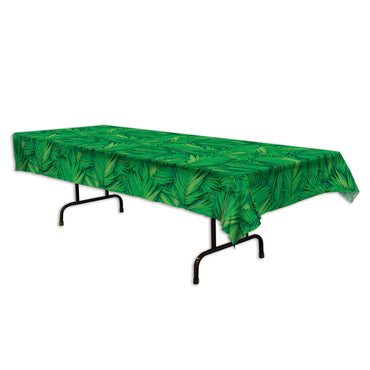 Palm Leaf Plastic Tablecover 54in x 108in - Party Savers