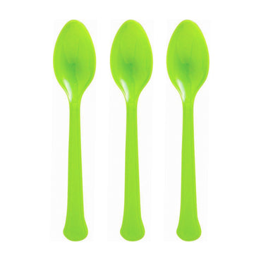 Lime Green Plastic Spoon 20pk