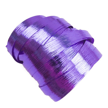 Metallic Purple Precut Ribbon With Clips 1.75m 25pk - Party Savers