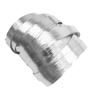 Metallic Silver Precut Ribbon With Clips 1.75m 25pk - Party Savers