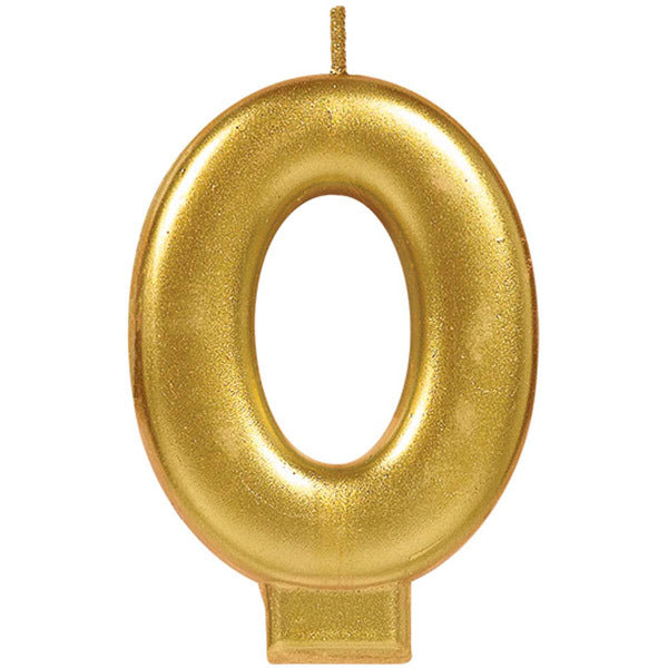 Number Candle 0 Metallic Gold - Party Savers
