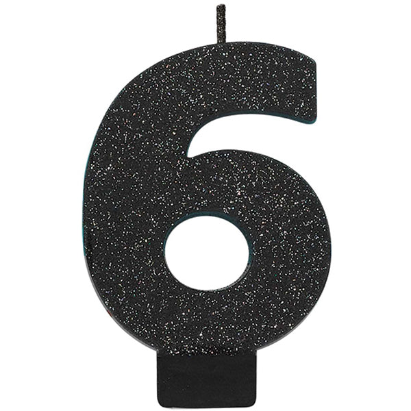 Number 8 Glitter Black - Party Savers