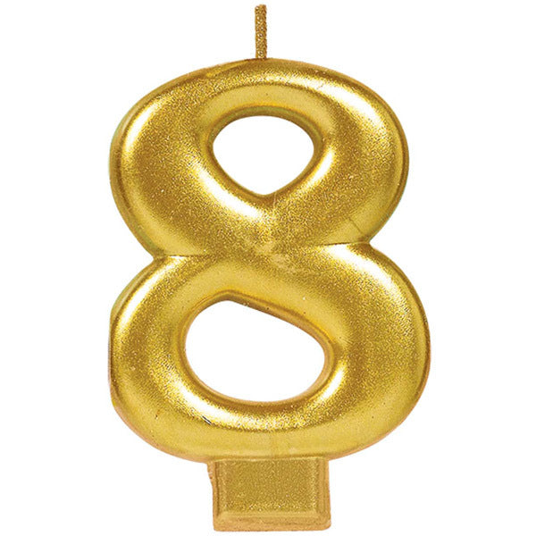 Number Candle 8 Metallic Gold - Party Savers