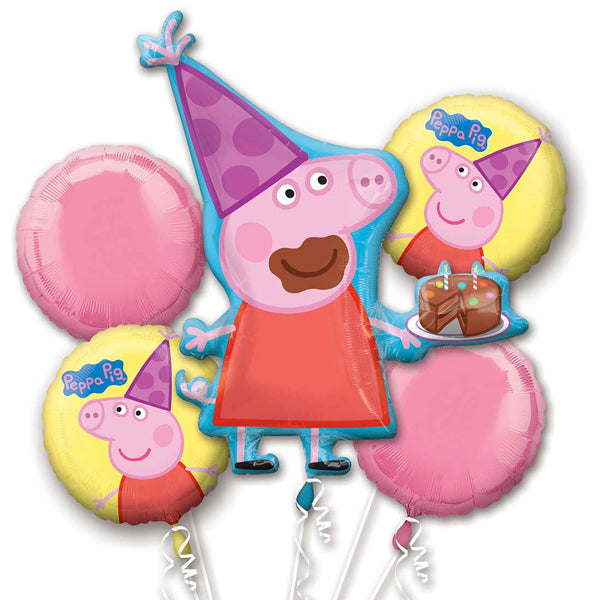 Peppa Pig Balloon Bouquet 5pk - Party Savers