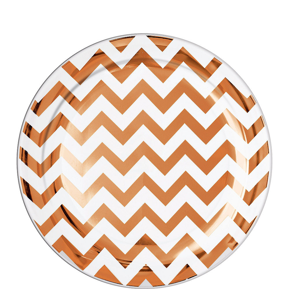 Rose Gold Chevron Premium Plastic Lunch Plates 19cm 20pk