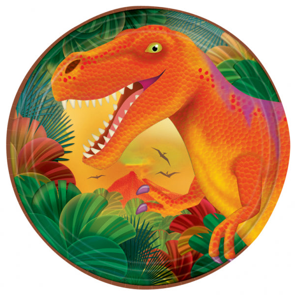 Prehistoric Party Round Plate 17cm 8pk - Party Savers