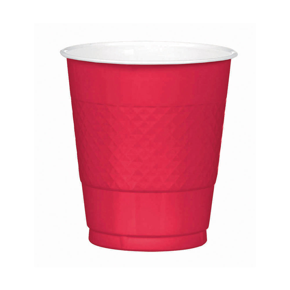 Red Plastic Cups 355ml 20pk - Party Savers