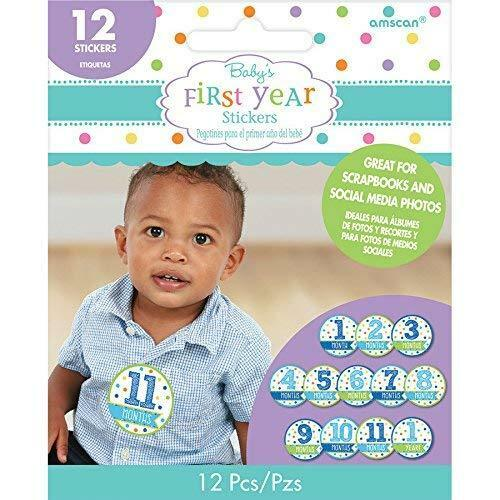 Baby Shower Stickers Month by Month Boy 12pk - Party Savers