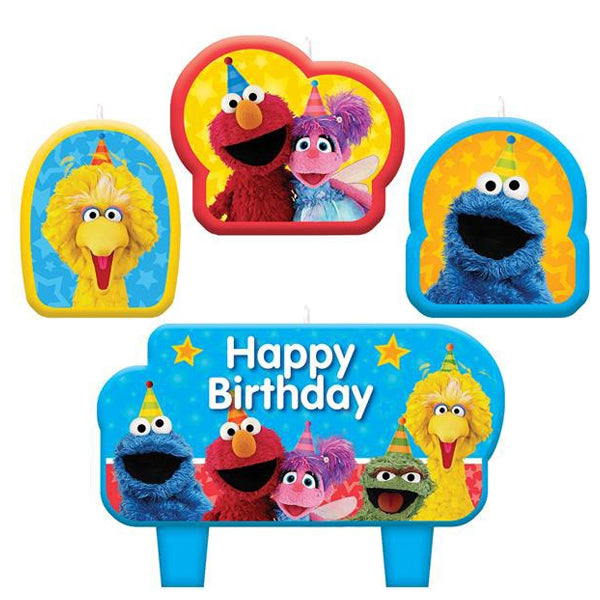 Sesame Street Birthday Candle Set 4pk - Party Savers