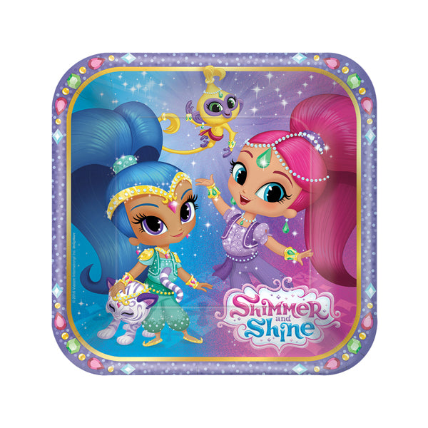 Shimmer and Shine Square Plates 18cm 8pk