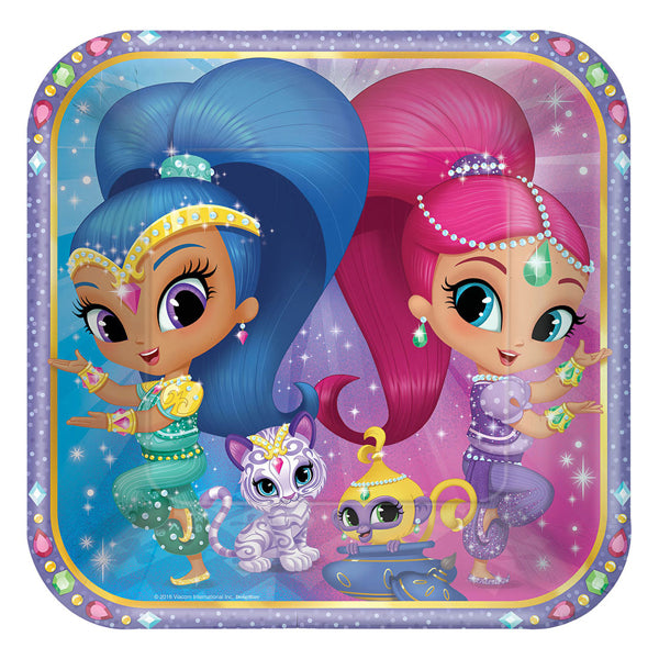 Shimmer and Shine Square Plates 23cm 8pk