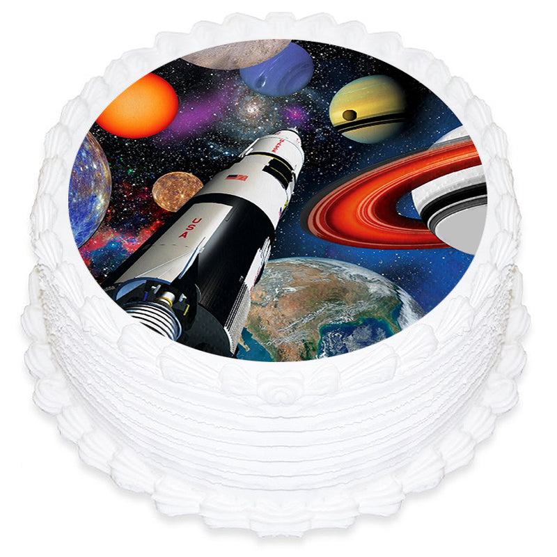 Space Round Edible Icing Image 19cm