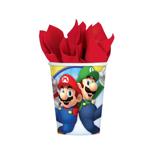 Super Mario Brothers Paper Cups 266ml 8pk - Party Savers