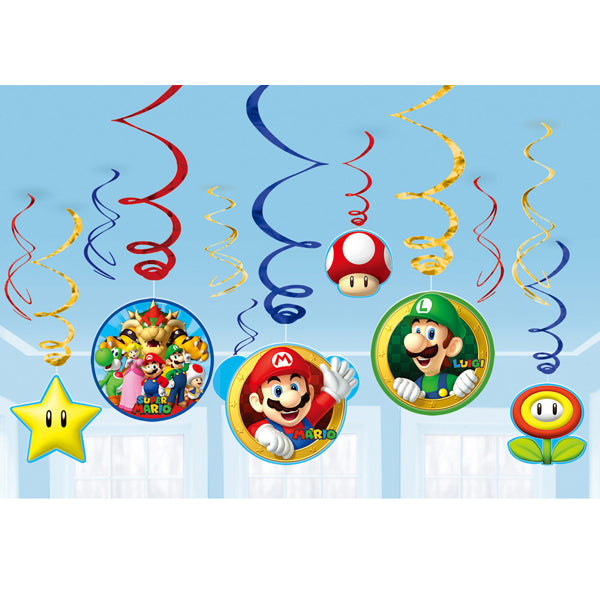 Super Mario Brothers Swirl Value Pack 12pk - Party Savers