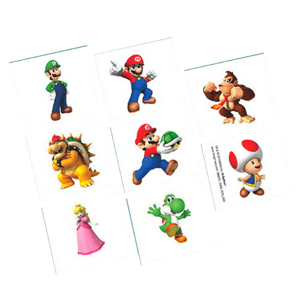 Super Mario Brothers Tattoos 1 Sheet - Party Savers