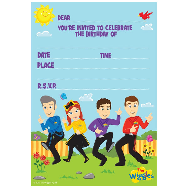 The Wiggles Invitations 8pk - Party Savers