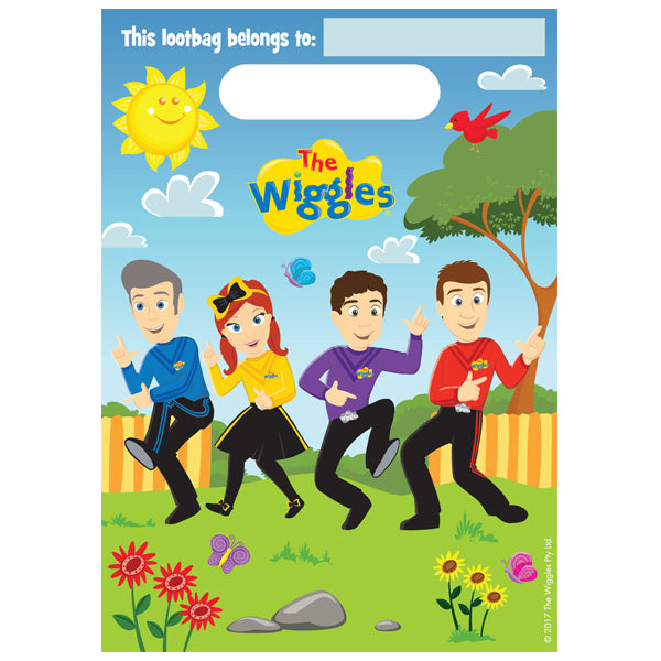 The Wiggles Plastic Loot Bags 8pk