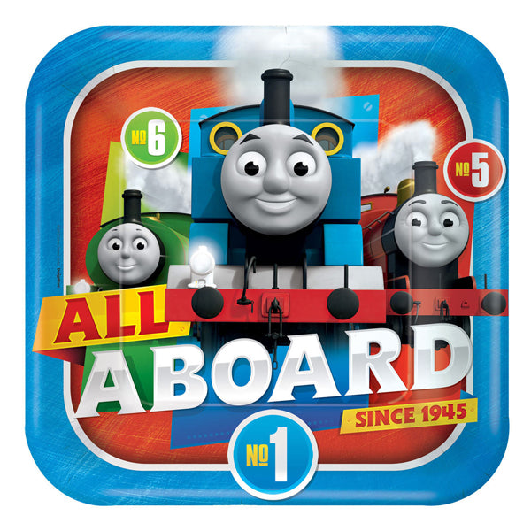 Thomas All Aboard Square Plates 23cm 8pk - Party Savers