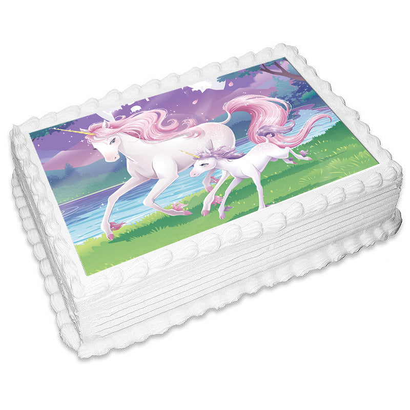 Unicorn Fantasy Rectangle Edible Icing Image 25cm x 19cm