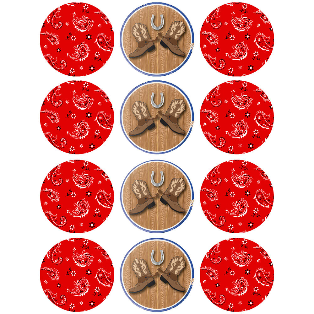 Cowboy Cupcake Edible Icing Image 6cm 12pk - Party Savers