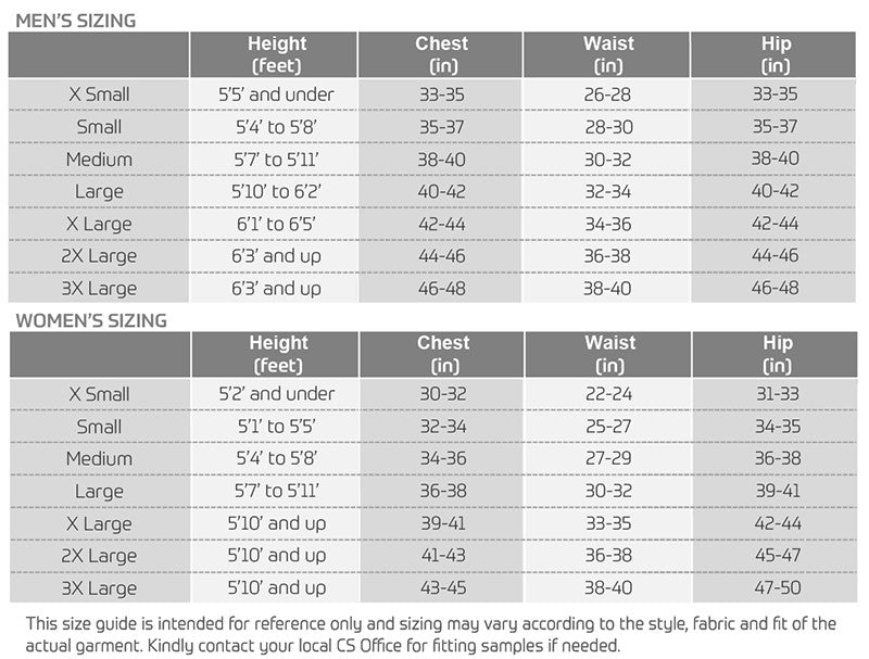 Cycling sizing guide