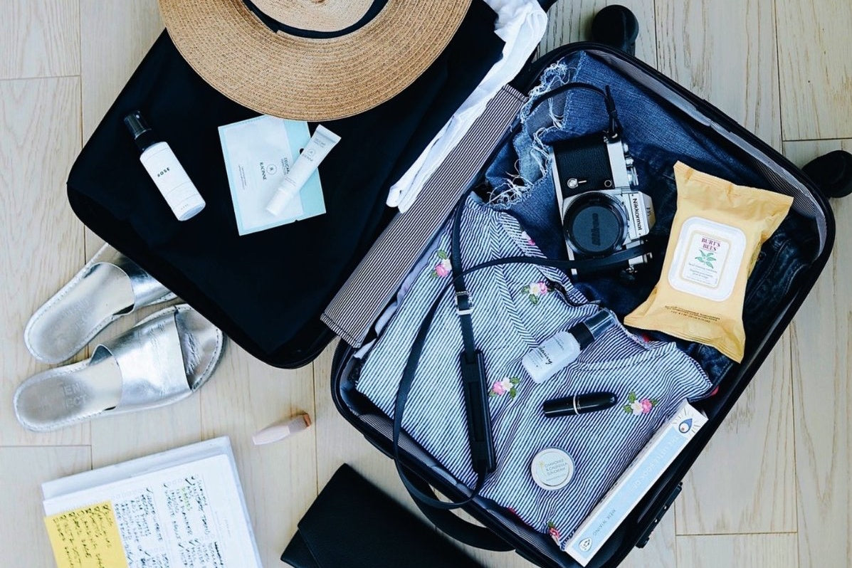 suitcase, travel, skincare