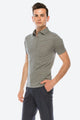 Zinovizo Men's Slim-Fit Grey Polka-dot Striped Polo Shirt